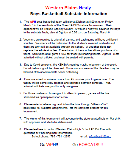 Boys Basketball Substate Information